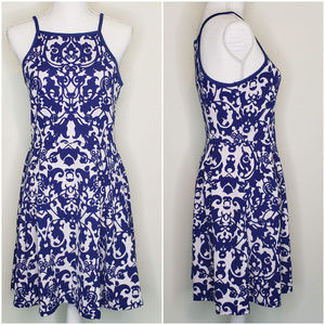 Soprano NWT blue and white floral print dress